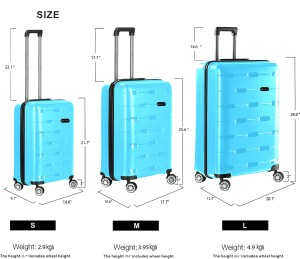 929152176 Nasher Miles Santorini PP Hard-Sided Cabin Luggage Bag Aqua Blue 21.7 Inch  | 55CM Trolley/Travel/Tourist Cabin Luggage - 20 inchBlue