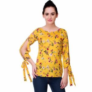 Myshka Casual 3/4th Sleeve Printed Women Yellow Top