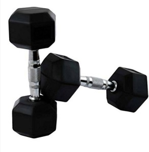 d59a976533e Credence 5kg X 2pcs Hexagonal Rubber Coated Fixed Weight Dumbbell 10 ...
