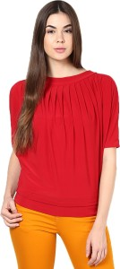 Mayra Casual Half Sleeve Solid Women's Red Top