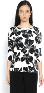 Van Heusen Casual 3/4th Sleeve Printed Women's Black Top