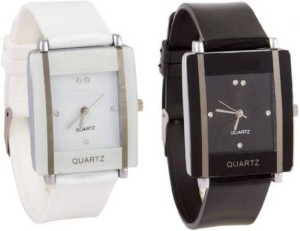 SWANOS A0016 Kawa White&Black Square Watch For Girls Watch  - For Girls