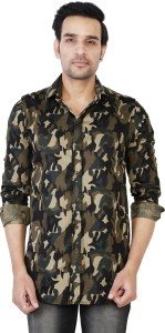 U TURN Men Military Camouflage Casual Multicolor Shirt