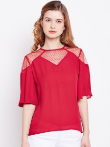 Rare Casual Half Sleeve Solid Women Red Top