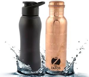 c7909fa58c Zafos Stainless Steel Sipper Water Bottle & CopperSilverTouch - BlackMatt &  CopperSilvertouch, 750ml & 600ml