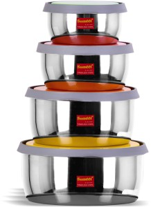 Sumeet Stainless Steel Food Storage Airtight & Leak Proof Containers Set 400ML to 1 Ltr, set of 4pc  - 1000 ml Steel Utility Box