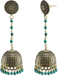 6f8300890ed Silvesto India Round Jhumki Studs With Treated Turquoise Beads Earring  Beads Stone Jhumki Earring Best Price in India