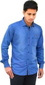 Clothonics Men Solid Casual Blue Shirt