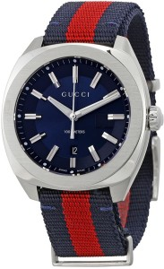 f5070c9ee60 GUCCI YA142304 Blue Dial Blue and Red Nylon Watch - For Men