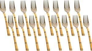 deva group of industries Handmade Indian Copper Set Of 16 Fork Spoon Stainless Steel Table Fork Spoon Set Copper, Steel Table Fork Set