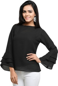 Serein Party Bell Sleeve Solid Women's Black Top