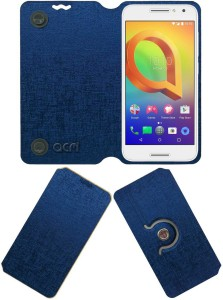 ACM Flip Cover for Alcatel A3 Blue, Cases with Holder, Artificial Leather