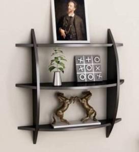 MartCrown wall stand black rack shelf Wooden Wall Shelf