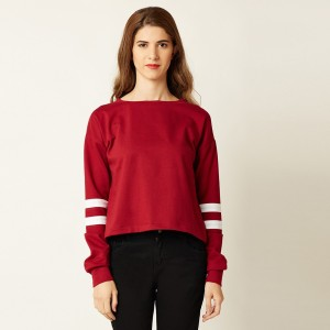 Miss Chase Casual Full Sleeve Solid Women's Maroon, White Top