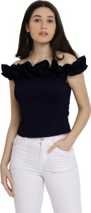 Miss Chase Party Cape Sleeve Solid Women's Dark Blue Top