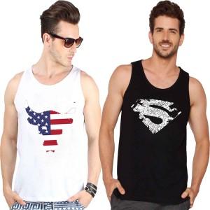 Veirdo Printed Men's Round Neck White, Black T-Shirt