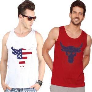 Veirdo Printed Men's Round Neck White, Red T-Shirt