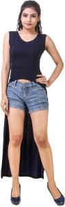 Skizo Casual Sleeveless Solid Women's Blue Top