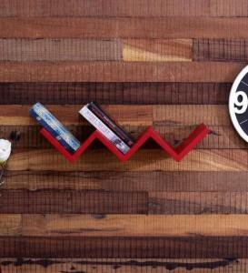 MartCrown W shaped book rack shelf Wooden Wall Shelf