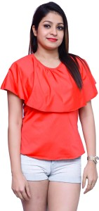 Chauhan Casual Short Sleeve Solid Women's Red Top