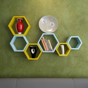 MartCrown hexagonal wall new rack shelf Wooden Wall Shelf