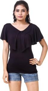 Skizo Casual Cape Sleeve Solid Women's Black Top