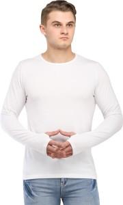 rockhard Solid Men's Round Neck White T-Shirt