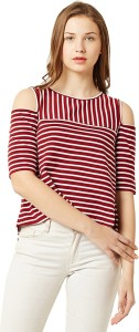 Miss Chase Casual 3/4th Sleeve Striped Women's Maroon, White Top