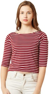Miss Chase Casual Half Sleeve Striped Women's Maroon, White Top