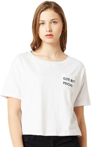 Miss Chase Casual Short Sleeve Embroidered Women's White Top