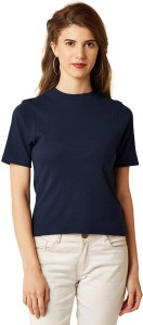 Miss Chase Casual Short Sleeve Solid Women's Dark Blue Top