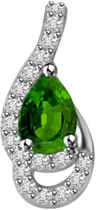 Surat Diamond Sparkling Peas 14kt Diamond, Emerald White Gold Pendant