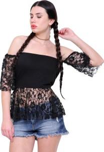 Marzeni Party Short Sleeve Solid Women's Black Top