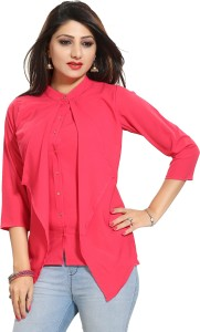 ALC Creations Casual 3/4th Sleeve Solid Women Pink Top