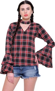 Marzeni Casual Bell Sleeve Checkered Women Multicolor Top