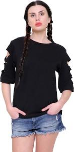 Marzeni Casual Half Sleeve Solid Women's Black Top