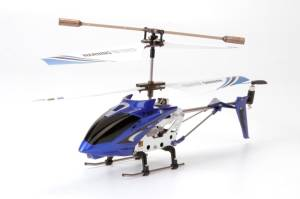 Miss & Chief Metal Helicopter 3 Channel Infrared Remote Control with Gyroscope n LED Lights for Indoor Blue