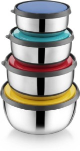 Caryn Storage Color Lid power Plus Container Stainless Steel Bowl Set
