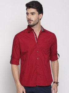 Muscke Men's Solid Casual Maroon Shirt