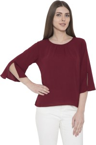 Arv Fashion Casual 3/4th Sleeve Solid Women's Maroon Top