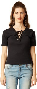 Miss Chase Casual Half Sleeve Solid Women's Black Top