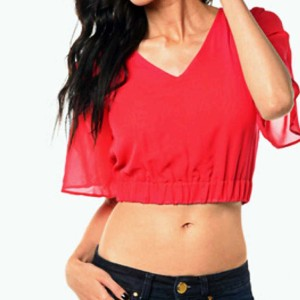 Dhilon Creations Casual Half Sleeve Solid Women's Red Top