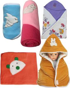 My Newborn Cartoon Single Hooded Baby Blanket