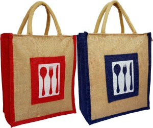 styles creation Combo Of Two Cutlery Print Designer Jute Lunch Bags/ Insulated Hot Case Handbag HNDBG98 Waterproof Lunch Bag
