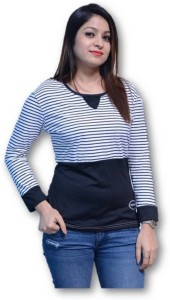 Chauhan Striped Women Round Neck Multicolor T-Shirt