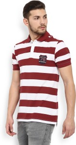 57f5a87e Jockey Striped Men s Polo Neck Red White T Shirt Best Price in India ...