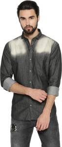 Campus Sutra Men Solid Casual Denim Black Shirt
