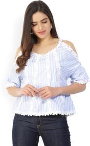 Tokyo Talkies Casual Half Sleeve Self Design Women's White, Blue Top