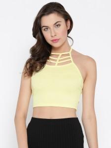 Veni Vidi Vici Beach Wear Sleeveless, Shoulder Strap Solid, Self Design, Stylised Women's Yellow Top