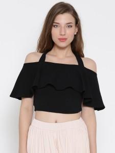 Veni Vidi Vici Casual Half Sleeve Solid, Stylised, Self Design Women's Black Top